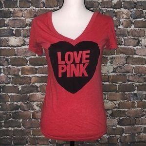 Victoria's Secret Love Pink Red heart cancel shirt